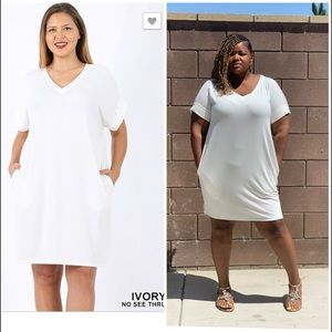 New Plus ivory T Shirt Dress With Pockets